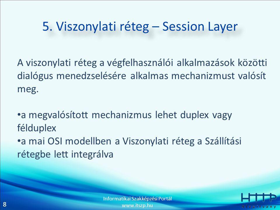 5. Viszonylati réteg – Session Layer