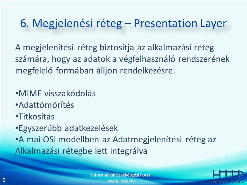 6. Megjelenési réteg – Presentation Layer