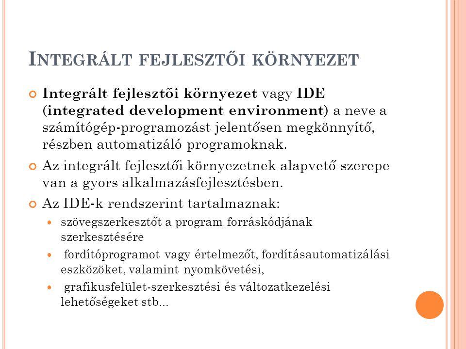 Integrált fejlesztői környezet