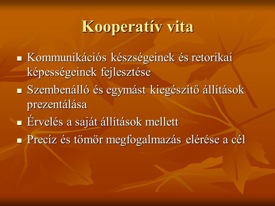 Kooperatív vita Kommunikációs készségeinek és retorikai képességeinek fejlesztése. Szembenálló és egymást kiegészítő állítások prezentálása.