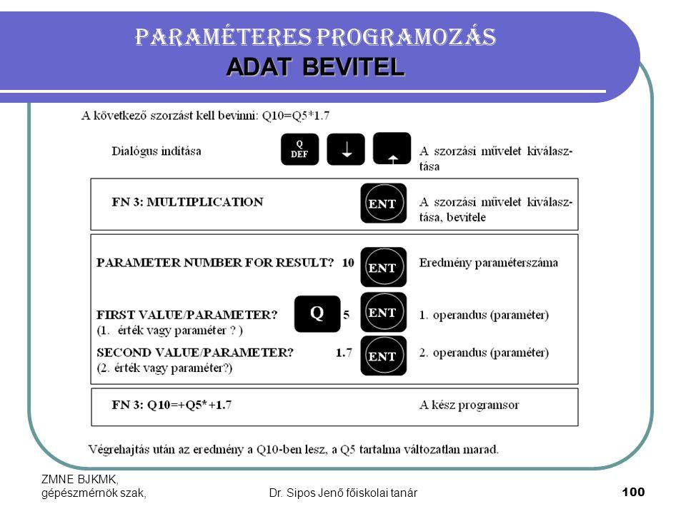 Paraméteres programozás ADAT BEVITEL