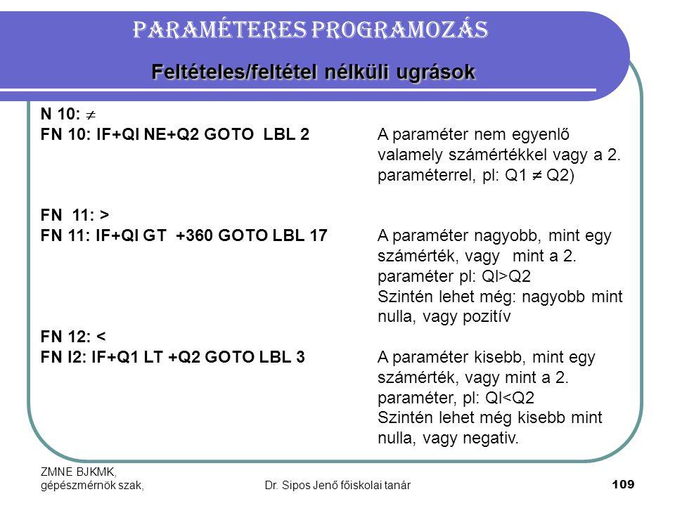 Paraméteres programozás Feltételes/feltétel nélküli ugrások