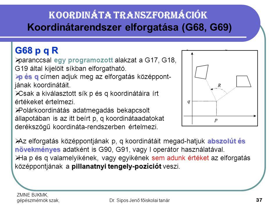 Koordináta transzformációk Koordinátarendszer elforgatása (G68, G69)