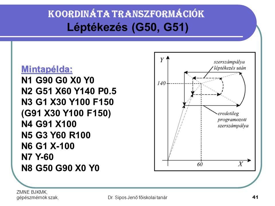 Koordináta transzformációk Léptékezés (G50, G51)