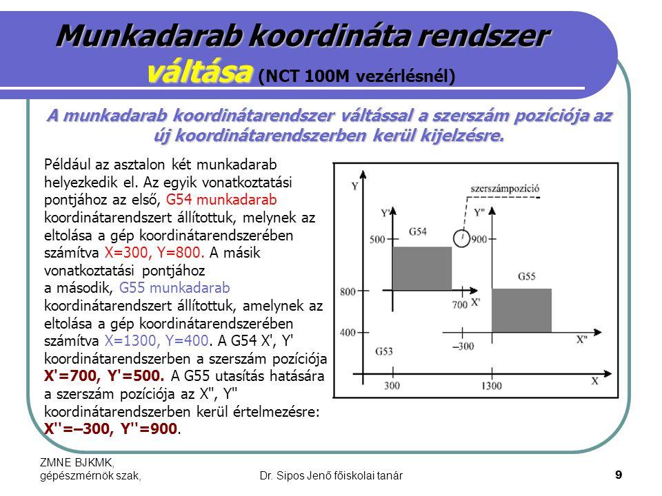 Munkadarab koordináta rendszer váltása (NCT 100M vezérlésnél)