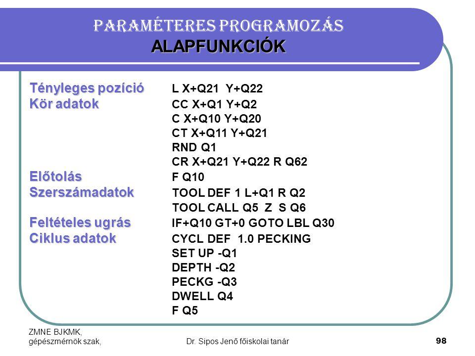 Paraméteres programozás ALAPFUNKCIÓK