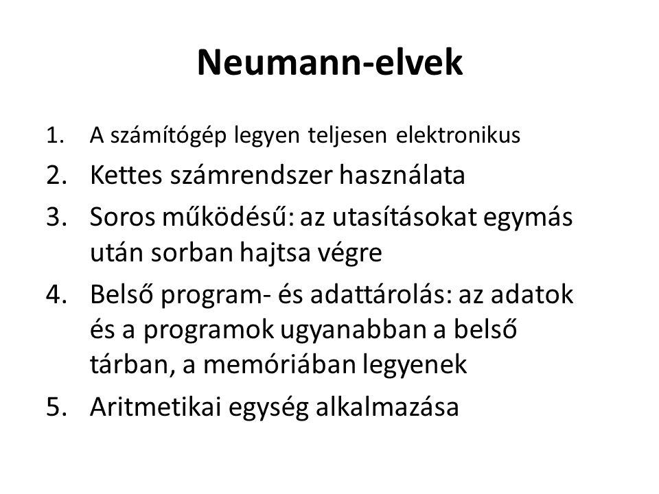 Neumann-elvek Kettes számrendszer használata