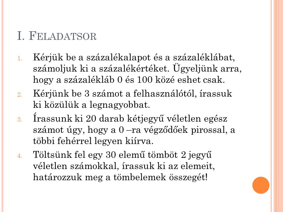 I. Feladatsor