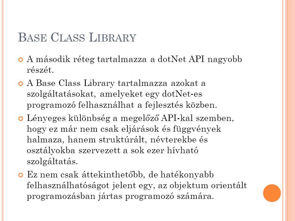 Base Class Library A második réteg tartalmazza a dotNet API nagyobb részét.