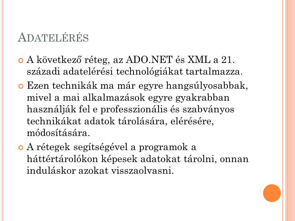 Adatelérés A következő réteg, az ADO.NET és XML a 21. századi adatelérési technológiákat tartalmazza.