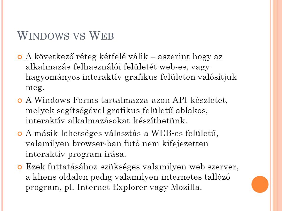 Windows vs Web