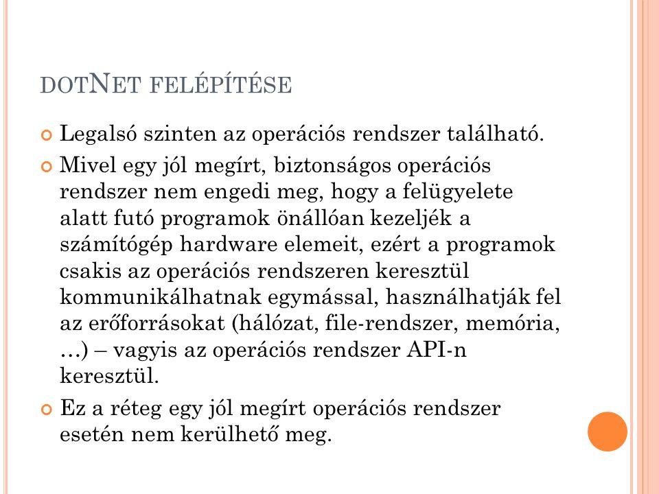 dotNet felépítése Legalsó szinten az operációs rendszer található.