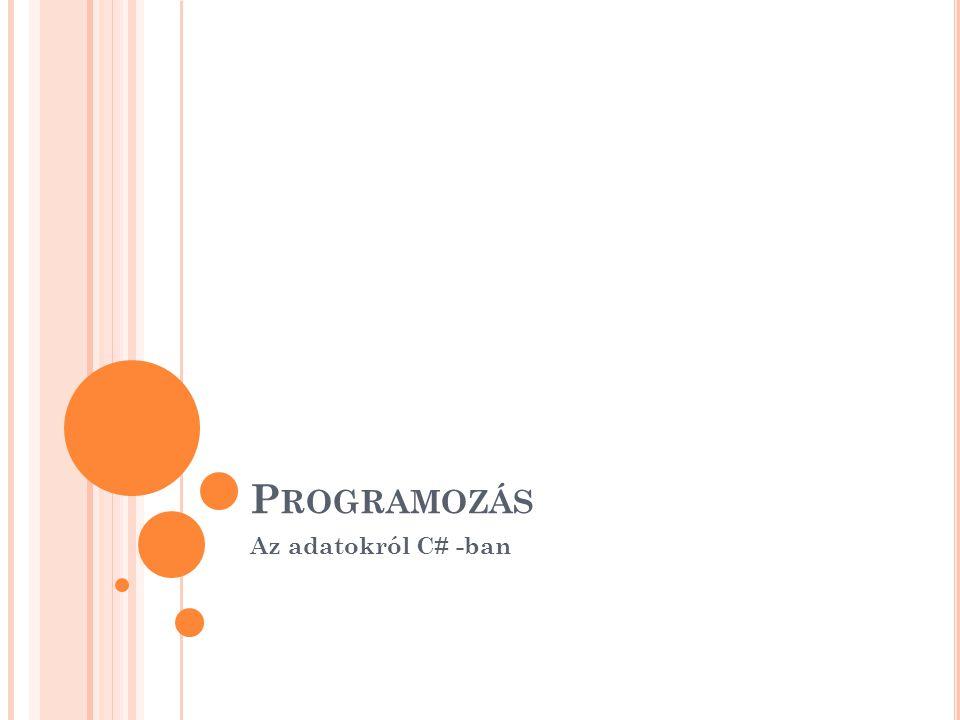 Programozás Az adatokról C# -ban