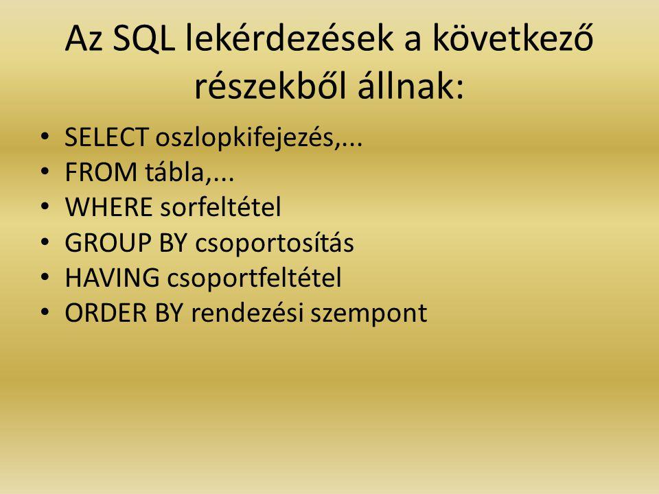 Az SQL lekérdezések a következő részekből állnak: