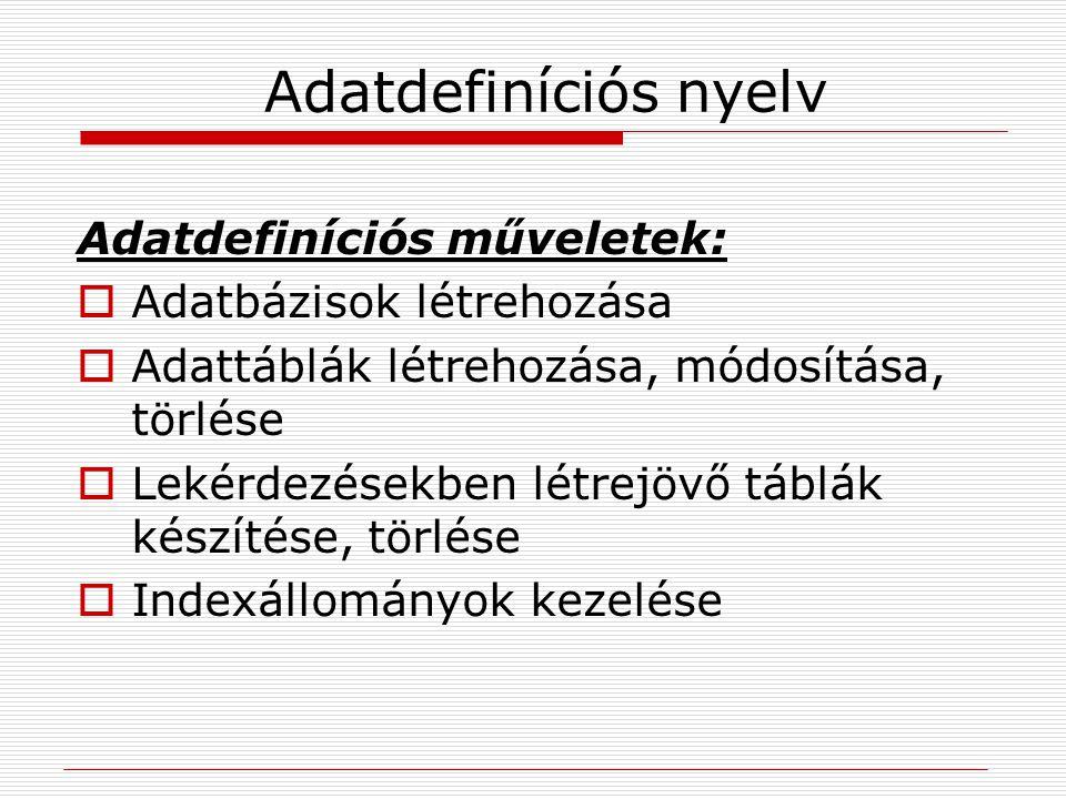 Adatdefiníciós nyelv Adatdefiníciós műveletek: Adatbázisok létrehozása