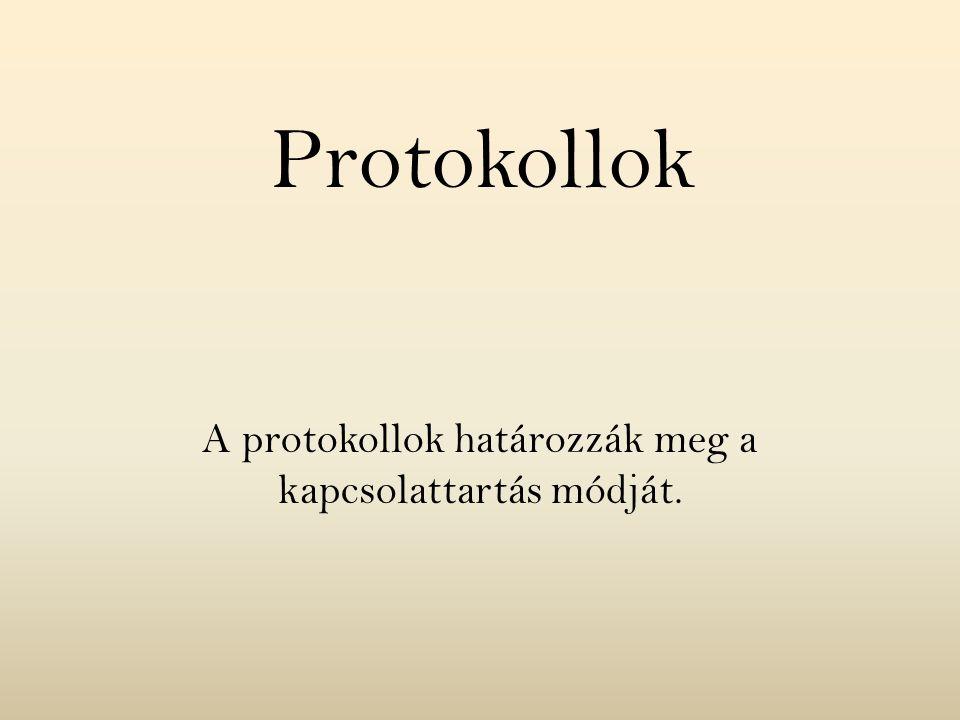 A protokollok határozzák meg a kapcsolattartás módját.