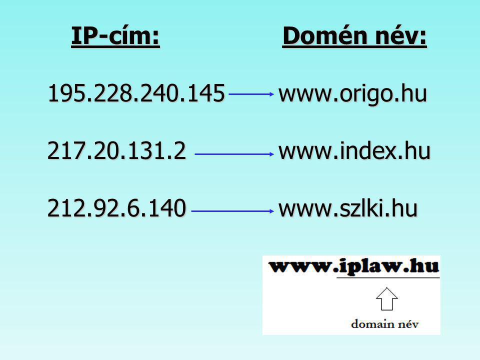 IP-cím: 195.228.240.145 217.20.131.2 212.92.6.140 Domén név: www.origo.hu www.index.hu www.szlki.hu.