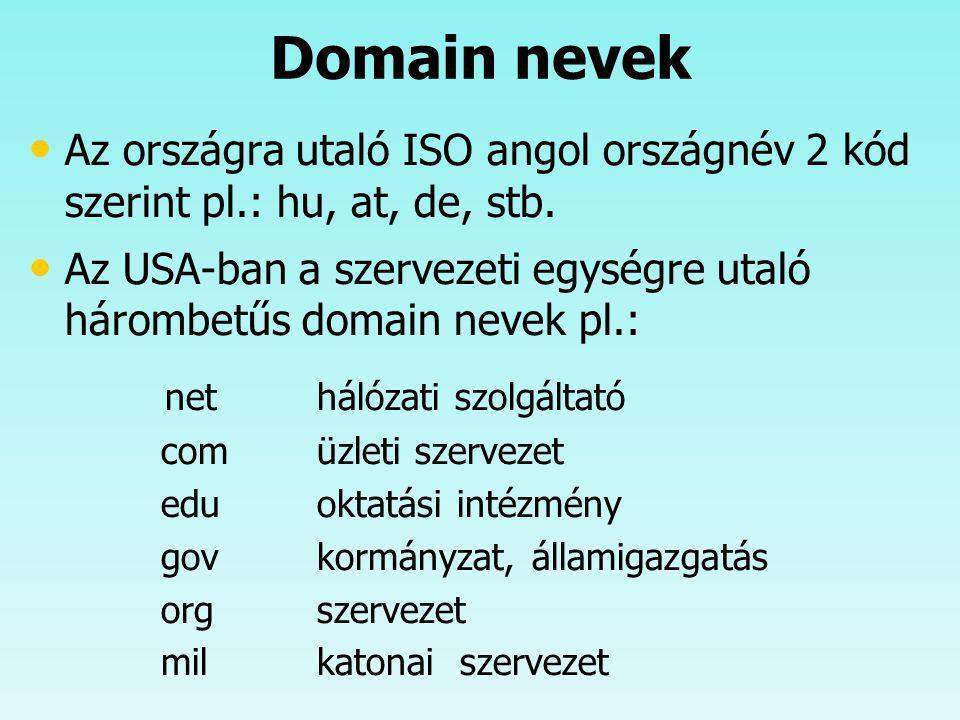 Domain nevek Az országra utaló ISO angol országnév 2 kód szerint pl.: hu, at, de, stb.