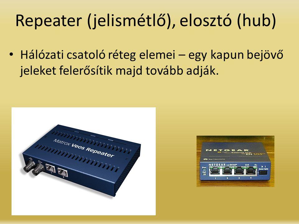 Repeater (jelismétlő), elosztó (hub)