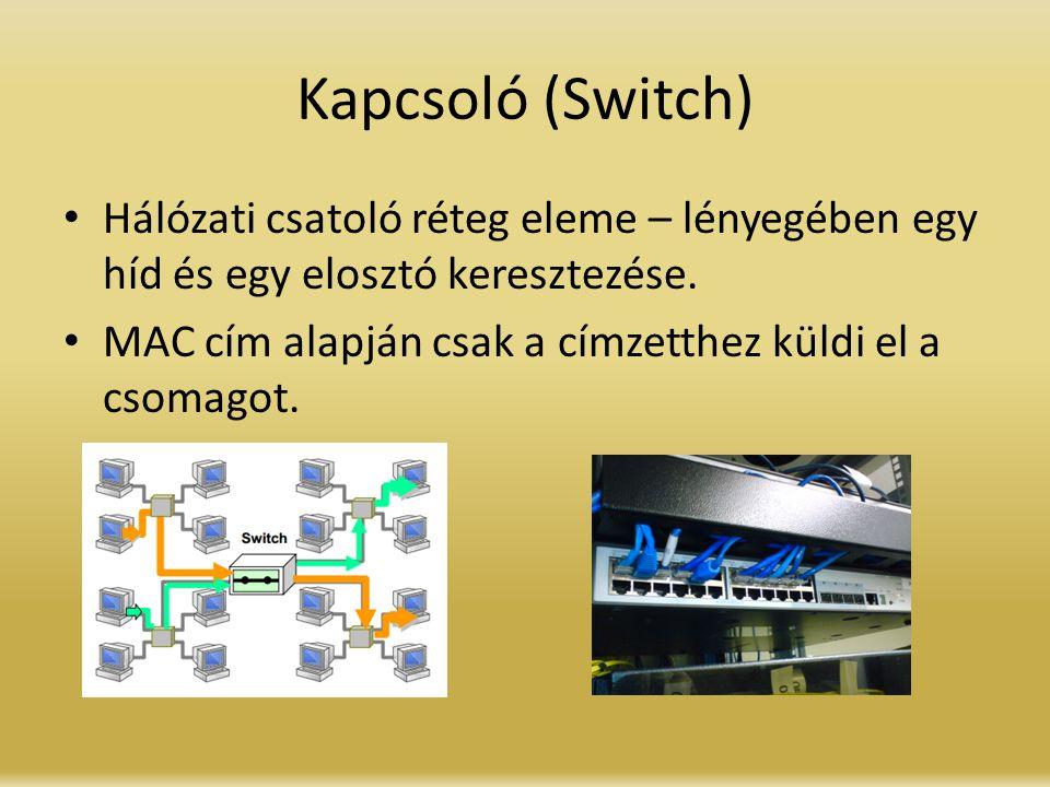 Kapcsoló (Switch) Hálózati csatoló réteg eleme – lényegében egy híd és egy elosztó keresztezése.