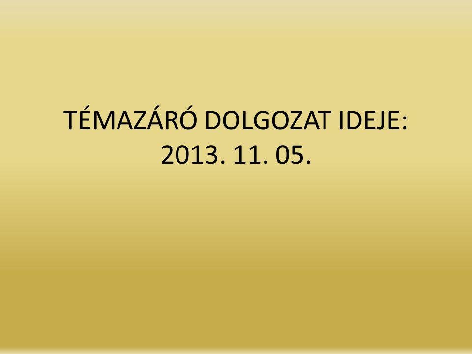 TÉMAZÁRÓ DOLGOZAT IDEJE: 2013. 11. 05.