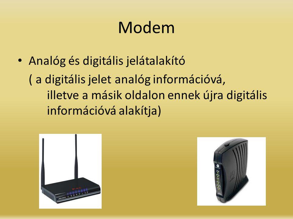 Modem Analóg és digitális jelátalakító