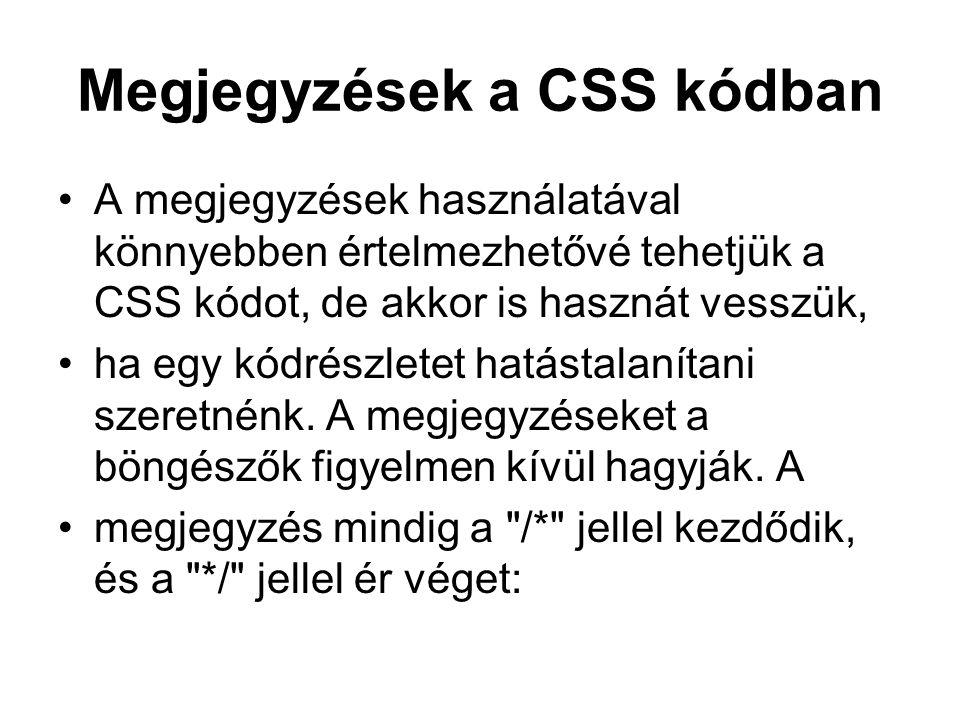 Megjegyzések a CSS kódban