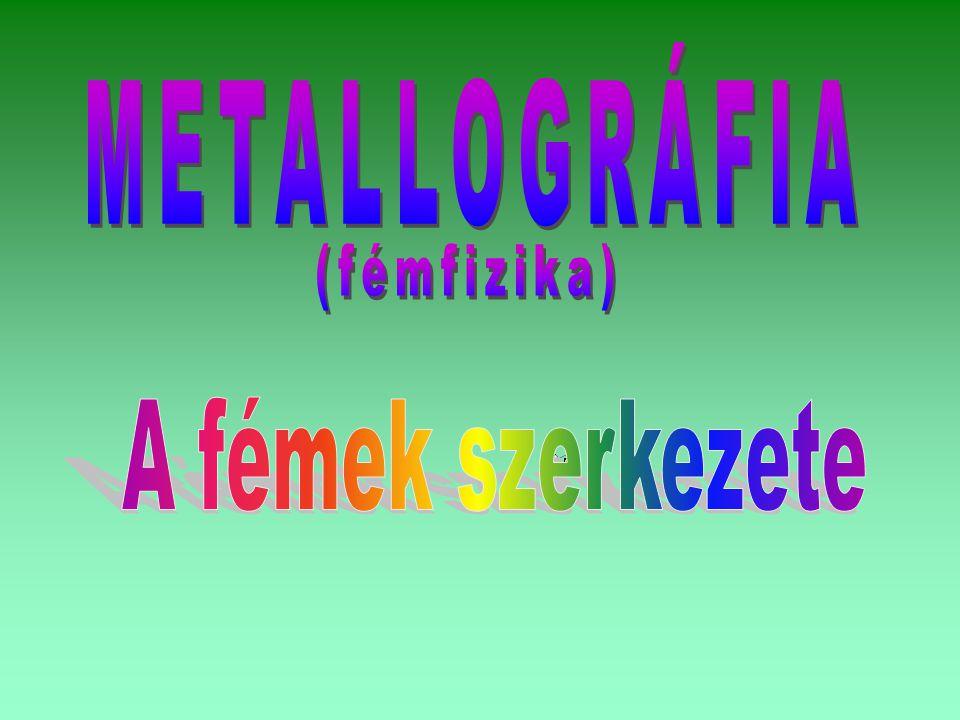 METALLOGRÁFIA (fémfizika) A fémek szerkezete