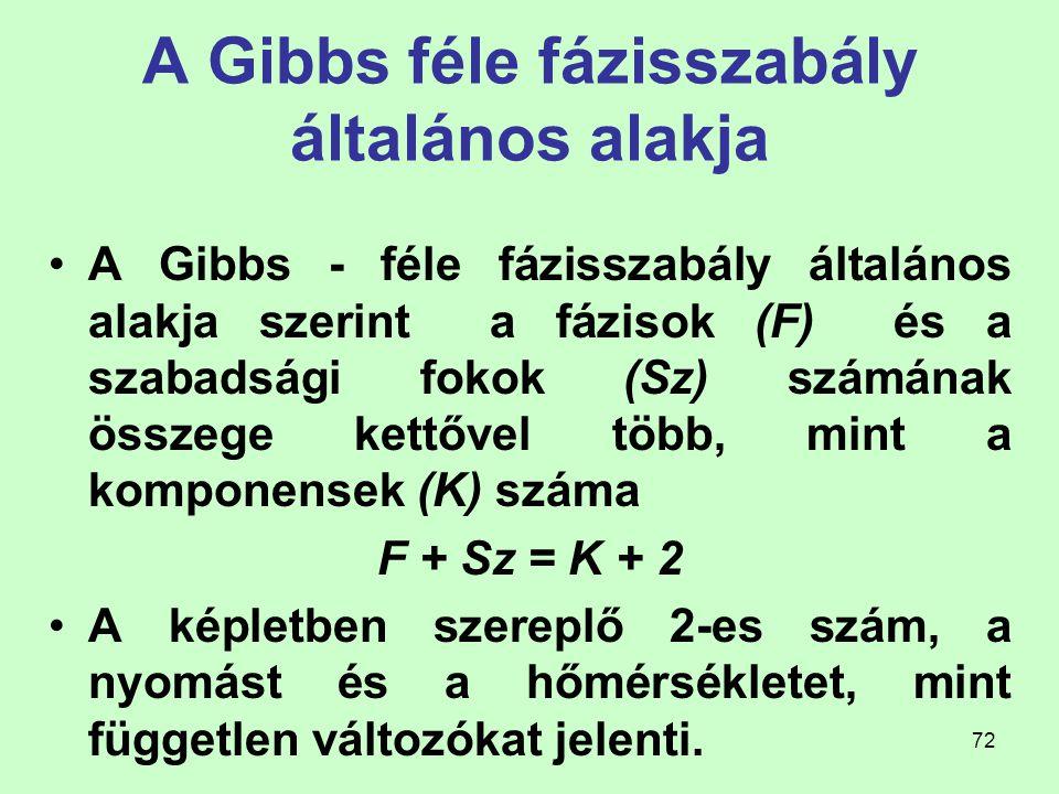 A Gibbs féle fázisszabály általános alakja