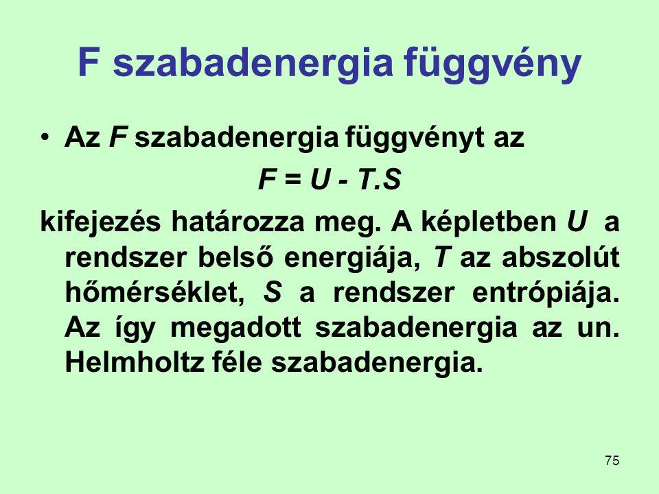F szabadenergia függvény