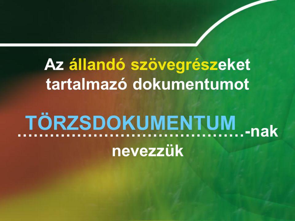 TÖRZSDOKUMENTUM Az állandó szövegrészeket tartalmazó dokumentumot