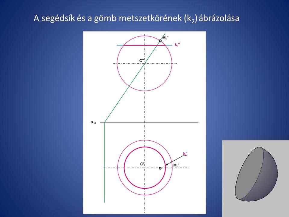 A segédsík és a gömb metszetkörének (k2) ábrázolása