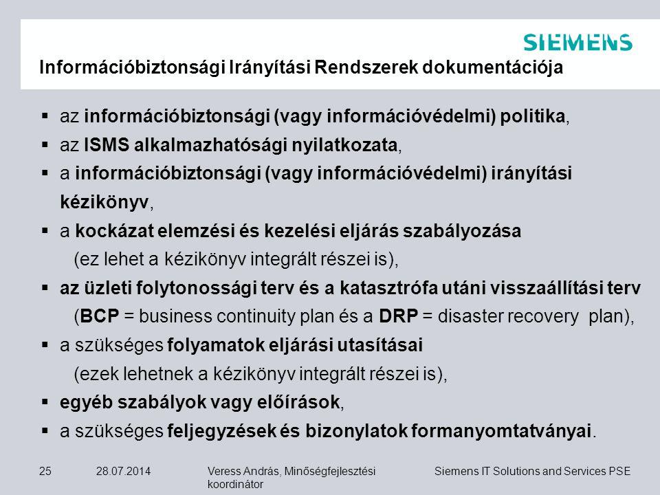 Információbiztonsági Irányítási Rendszerek dokumentációja