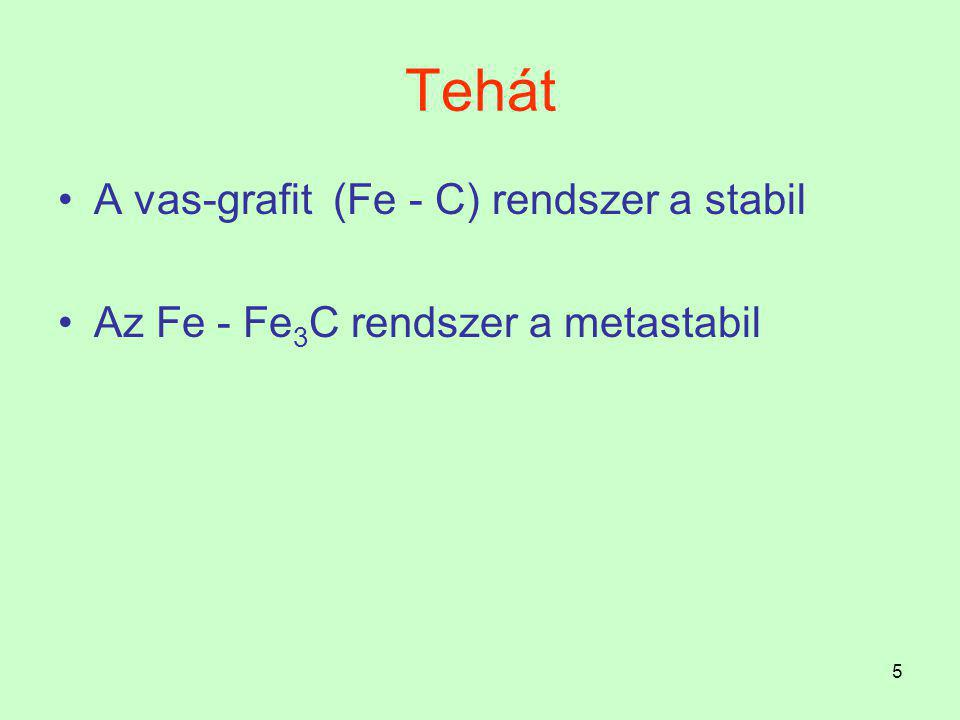 Tehát A vas-grafit (Fe - C) rendszer a stabil