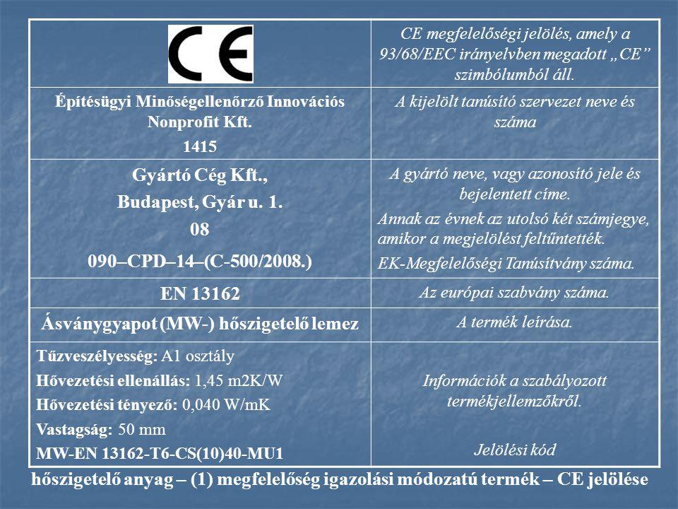 Ásványgyapot (MW-) hőszigetelő lemez
