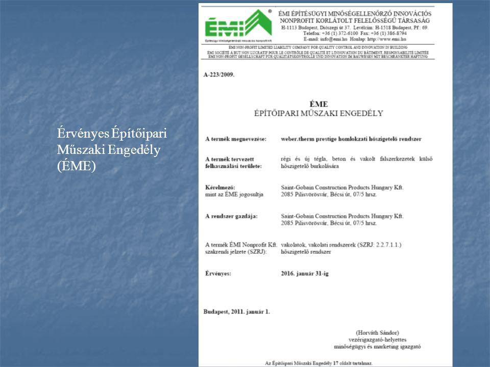 Érvényes Építőipari Műszaki Engedély (ÉME)