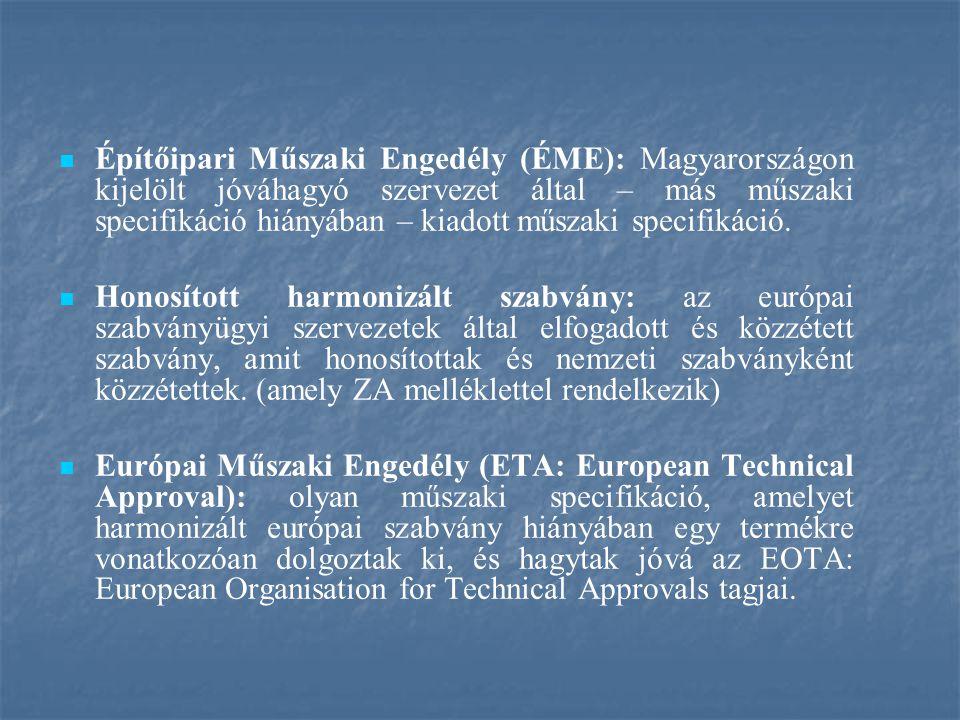 Építőipari Műszaki Engedély (ÉME): Magyarországon kijelölt jóváhagyó szervezet által – más műszaki specifikáció hiányában – kiadott műszaki specifikáció.
