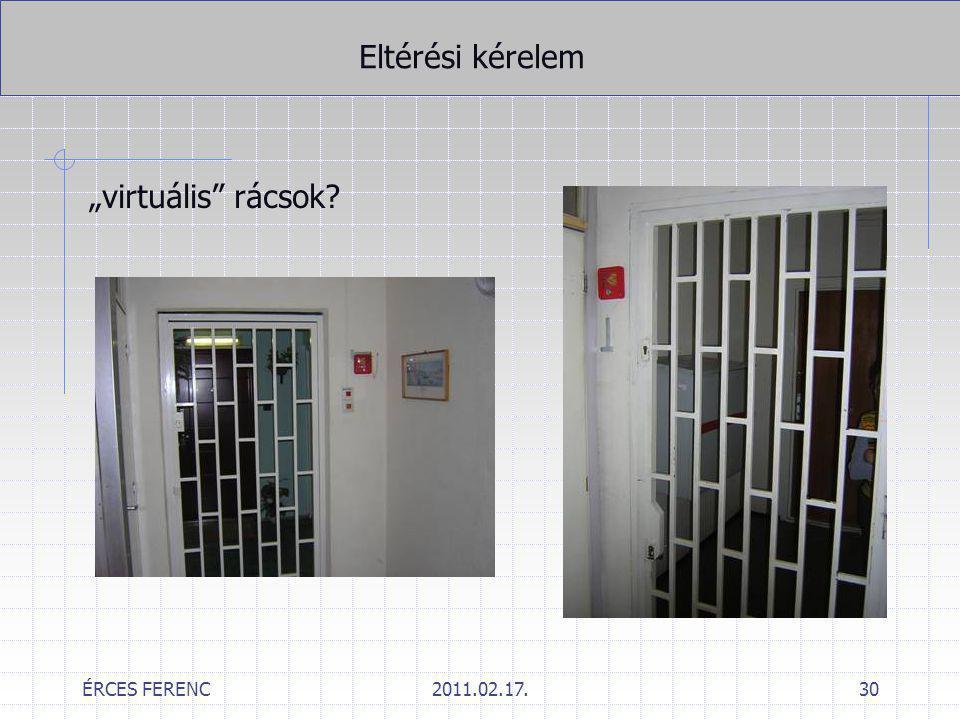 """Eltérési kérelem """"virtuális rácsok ÉRCES FERENC 2011.02.17."""