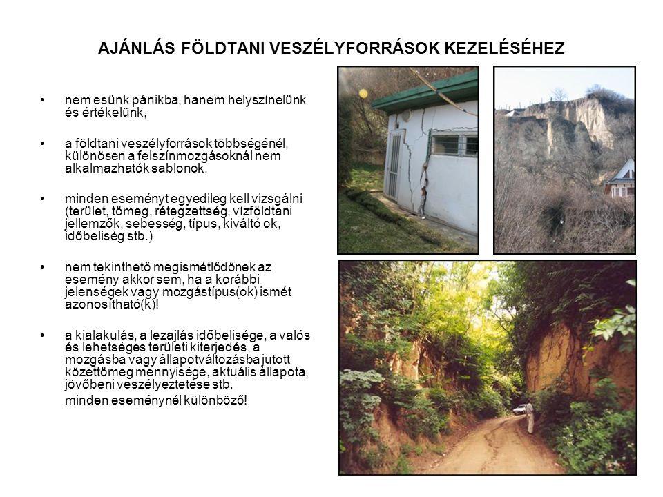 AJÁNLÁS FÖLDTANI VESZÉLYFORRÁSOK KEZELÉSÉHEZ