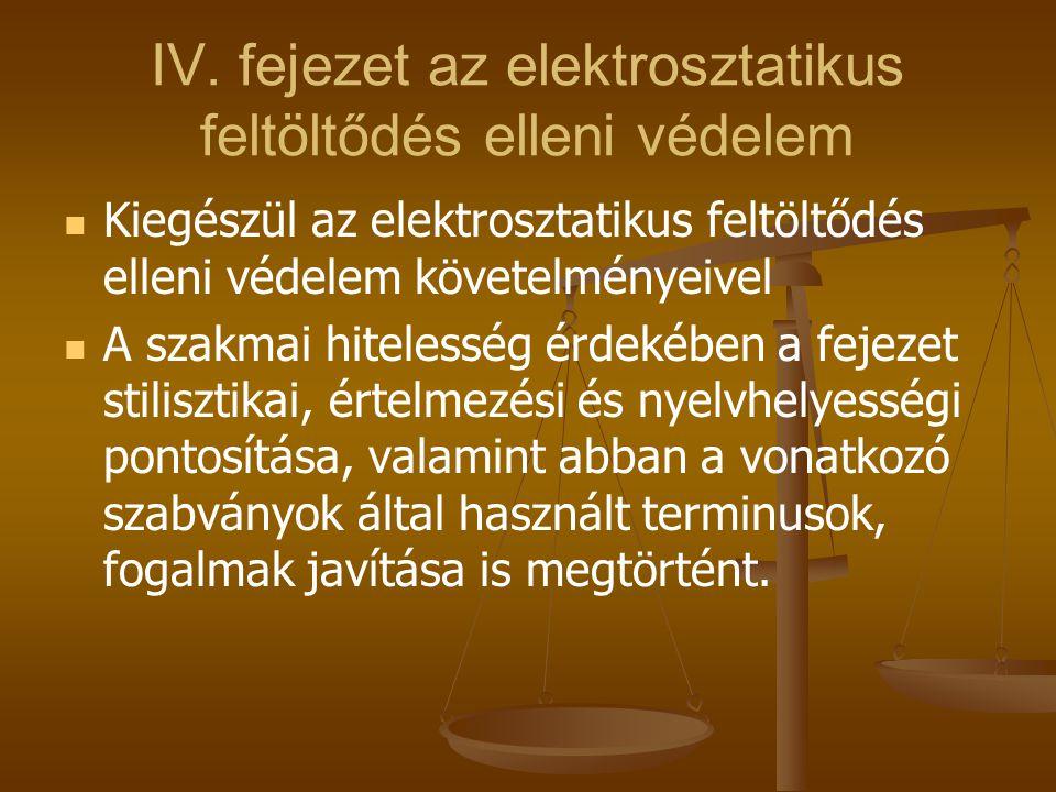 IV. fejezet az elektrosztatikus feltöltődés elleni védelem