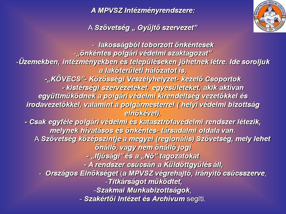 """A MPVSZ Intézményrendszere: A Szövetség """" Gyűjtő szervezet"""