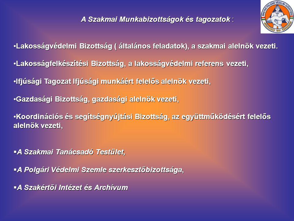 A Szakmai Munkabizottságok és tagozatok :