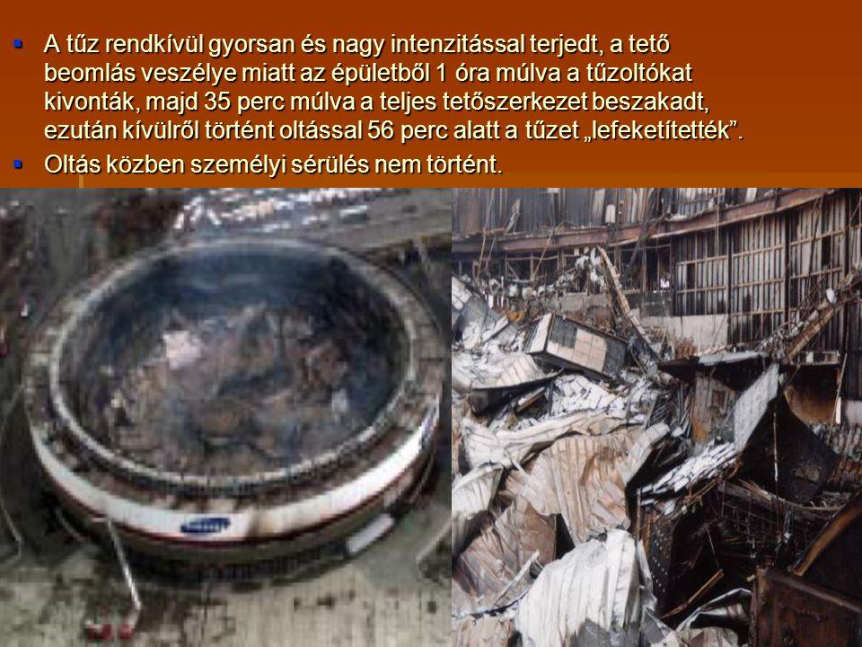 """A tűz rendkívül gyorsan és nagy intenzitással terjedt, a tető beomlás veszélye miatt az épületből 1 óra múlva a tűzoltókat kivonták, majd 35 perc múlva a teljes tetőszerkezet beszakadt, ezután kívülről történt oltással 56 perc alatt a tűzet """"lefeketítették ."""