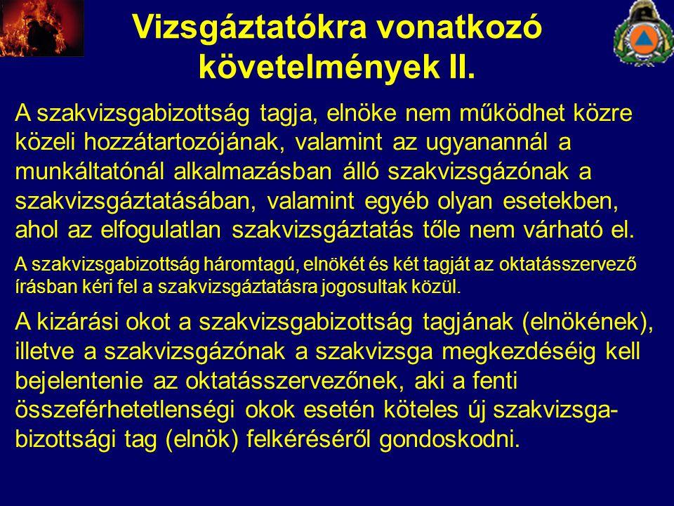 Vizsgáztatókra vonatkozó követelmények II.