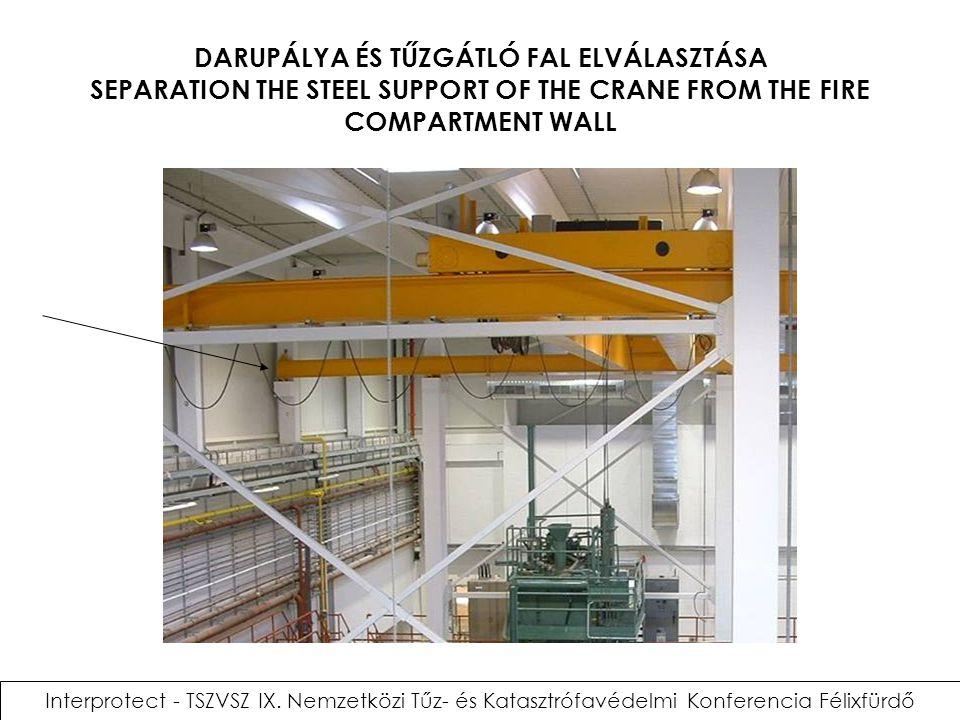 DARUPÁLYA ÉS TŰZGÁTLÓ FAL ELVÁLASZTÁSA SEPARATION THE STEEL SUPPORT OF THE CRANE FROM THE FIRE COMPARTMENT WALL