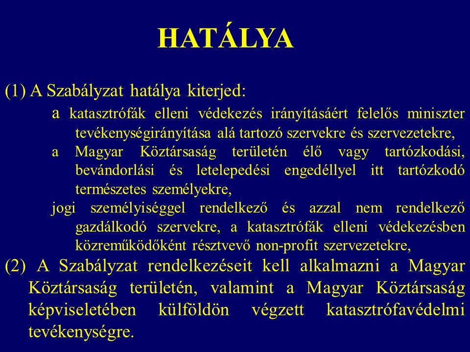 HATÁLYA (1) A Szabályzat hatálya kiterjed:
