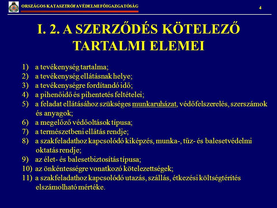 I. 2. A SZERZŐDÉS KÖTELEZŐ TARTALMI ELEMEI