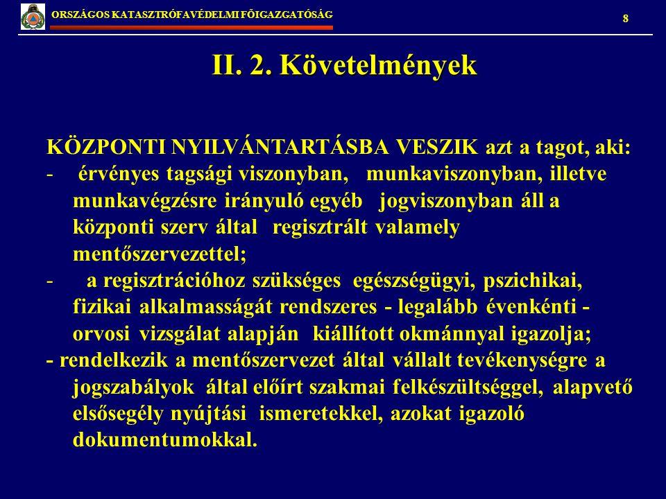 II. 2. Követelmények KÖZPONTI NYILVÁNTARTÁSBA VESZIK azt a tagot, aki:
