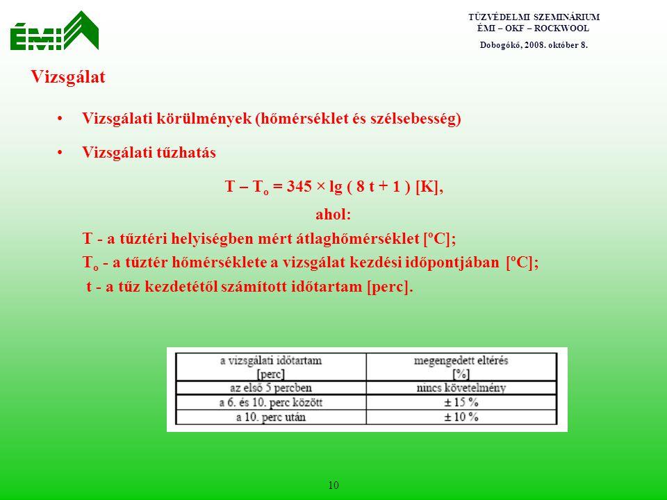 Vizsgálat Vizsgálati körülmények (hőmérséklet és szélsebesség)