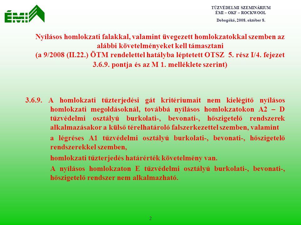 Nyílásos homlokzati falakkal, valamint üvegezett homlokzatokkal szemben az alábbi követelményeket kell támasztani (a 9/2008 (II.22.) ÖTM rendelettel hatályba léptetett OTSZ 5. rész I/4. fejezet 3.6.9. pontja és az M 1. melléklete szerint)
